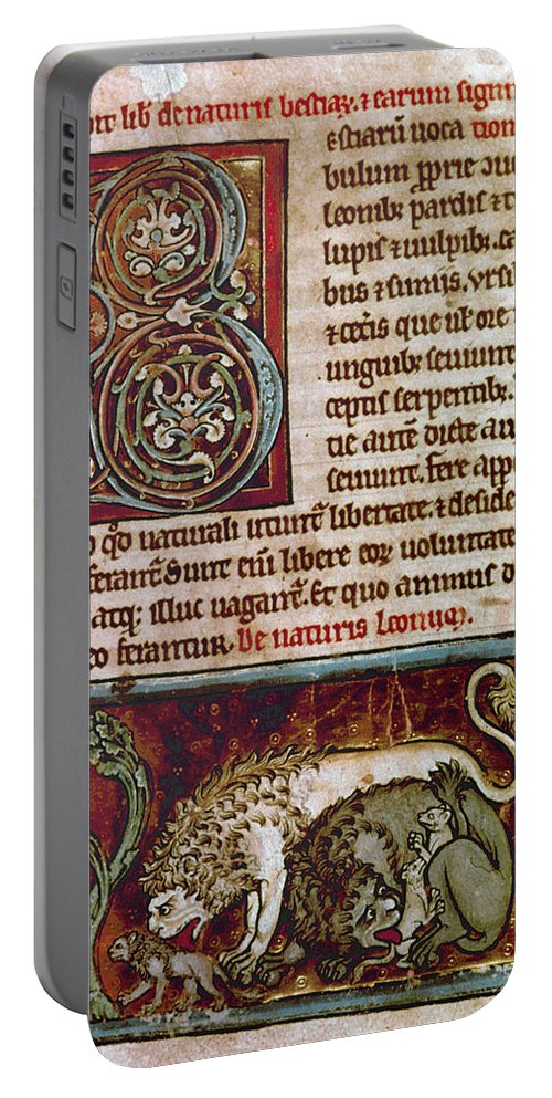 12th Century Portable Battery Charger featuring the photograph Bestiary: Lion by Granger