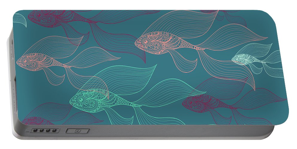Dolphins Portable Battery Charger featuring the photograph Beta Fish by Mark Ashkenazi