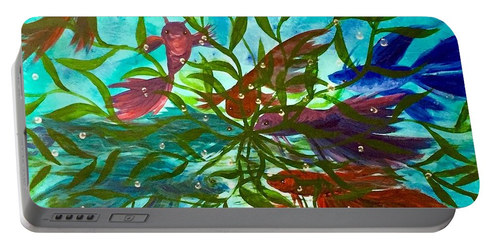 Beta Portable Battery Charger featuring the painting Betas Harmony by Diane Sleger