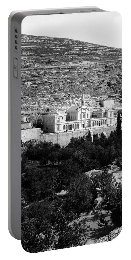 Bethlehem Portable Battery Charger featuring the photograph Bethlehem - Artas Convent Year 1900 To 1925 by Munir Alawi