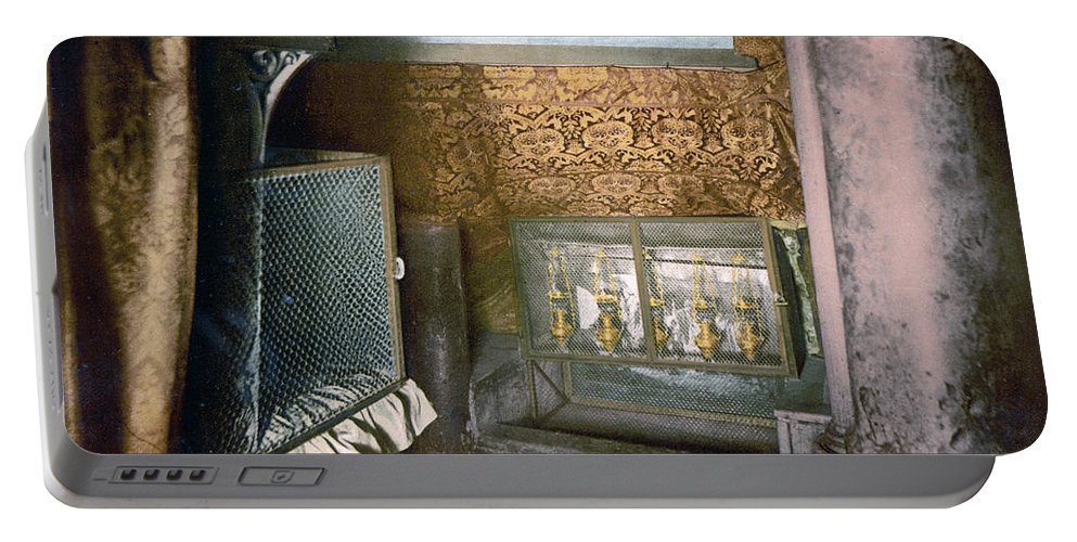 Church Portable Battery Charger featuring the photograph Bethlehem - Nativity Church 1890 by Munir Alawi