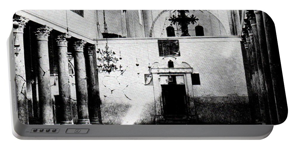 Nativity Portable Battery Charger featuring the photograph Bethlehem - Nativity Church Year 1887 by Munir Alawi