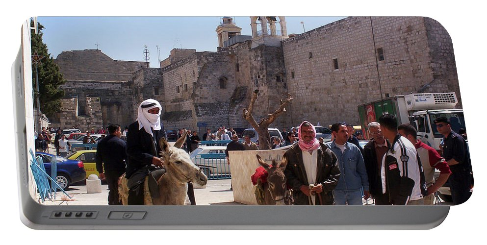 Bethlehem Portable Battery Charger featuring the photograph Bethlehem - Nativity Square Demonstration by Munir Alawi