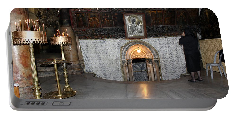 Bethlehem Portable Battery Charger featuring the photograph Bethlehem - Woman During Pray by Munir Alawi