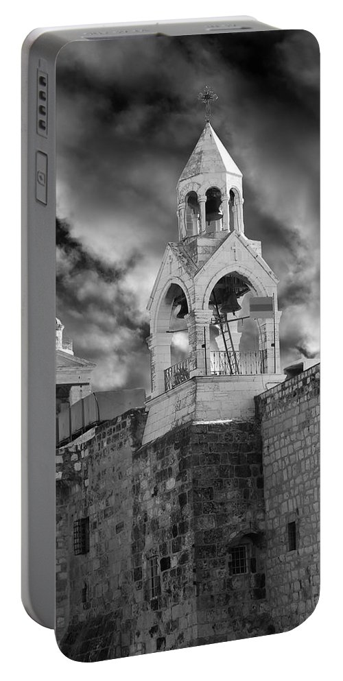 Bethlehem Portable Battery Charger featuring the photograph Bethlehem With Cloudy Sky by Munir Alawi