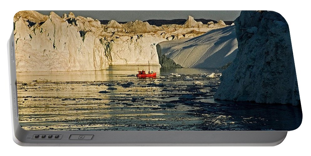 Greenland Portable Battery Charger featuring the photograph Between Icebergs - Greenland by Juergen Weiss