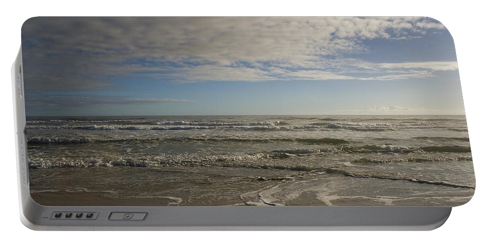 Wave Sand Ocean Beach Sky Water Wave Tide Sun Sunny Vacation Cloud Morning Early Portable Battery Charger featuring the photograph Between Night And Day by Andrei Shliakhau