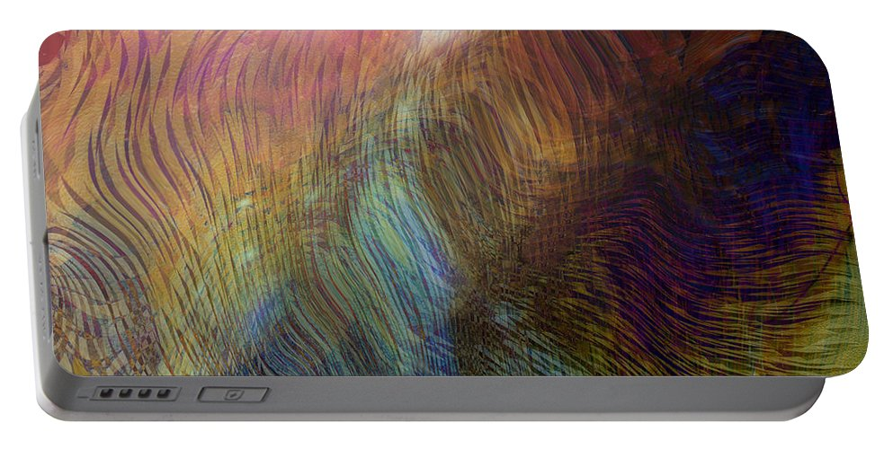 Abstract Art Portable Battery Charger featuring the digital art Between The Lines by Linda Sannuti