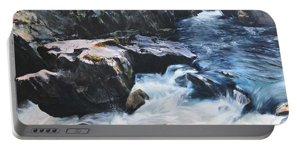 Landscape Portable Battery Charger featuring the painting Betws-y-coed Waterfall by Harry Robertson