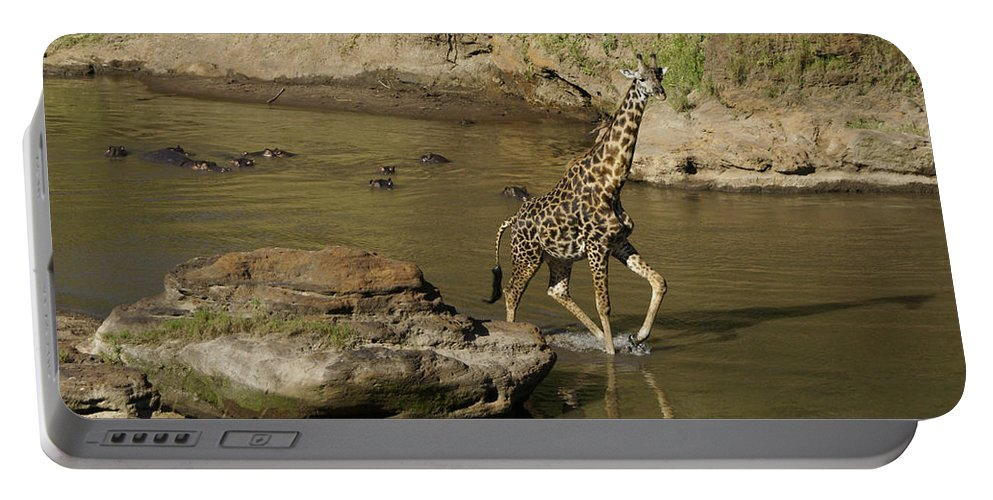 Africa Portable Battery Charger featuring the photograph Beware Of Hippos by Michele Burgess