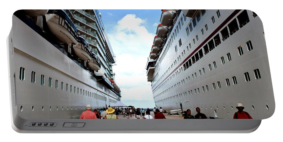 Carnival Portable Battery Charger featuring the photograph Beween Two Ships by Thomas Marchessault