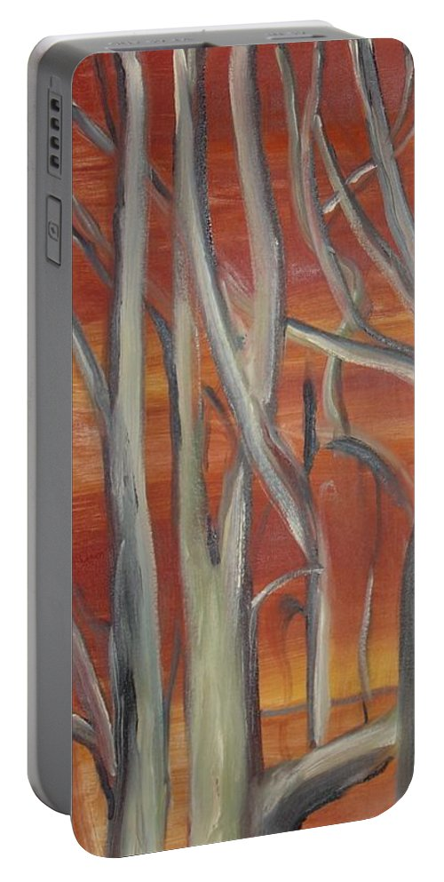 Trees Forest Original Painting Abstract Portable Battery Charger featuring the painting Beyond by Leila Atkinson