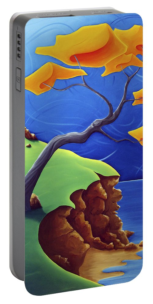Landscape Portable Battery Charger featuring the painting Beyond Limitations by Richard Hoedl