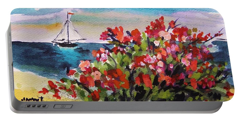 Sea Portable Battery Charger featuring the painting Beyond Sea Roses by John Williams