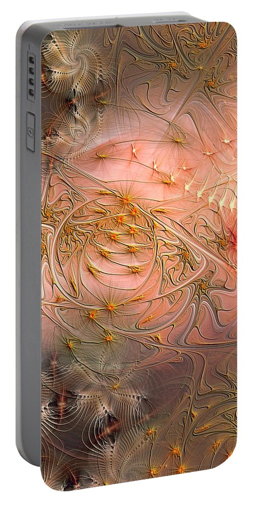 Abstract Portable Battery Charger featuring the digital art Beyond Solipsism by Casey Kotas
