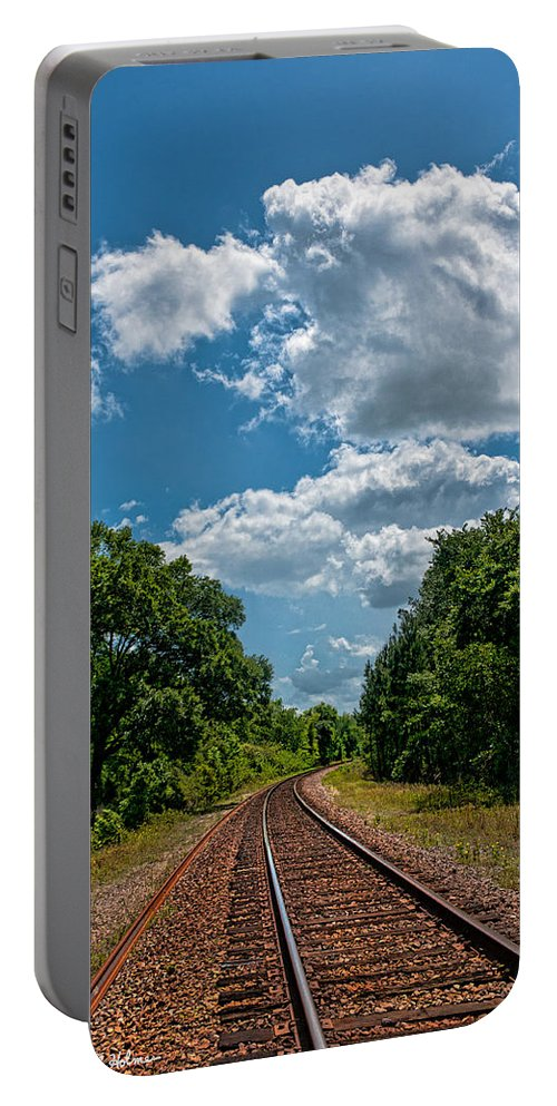 Rail Road Portable Battery Charger featuring the photograph Beyond The Bend by Christopher Holmes