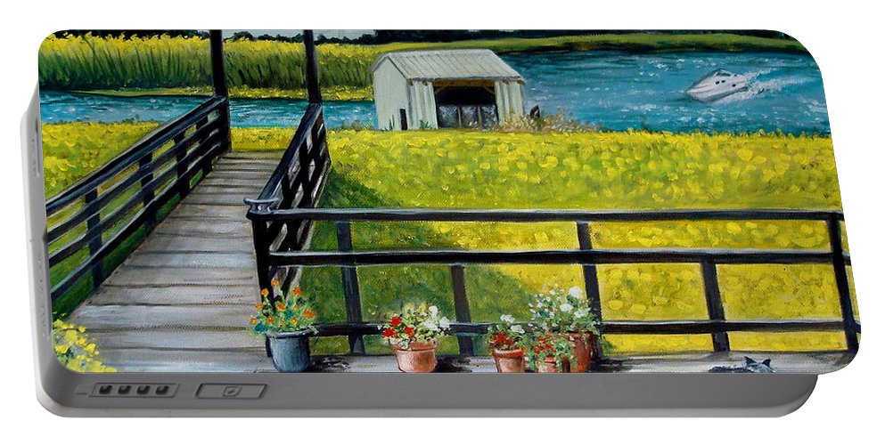 Landscape Portable Battery Charger featuring the painting Beyond The Levee by Elizabeth Robinette Tyndall