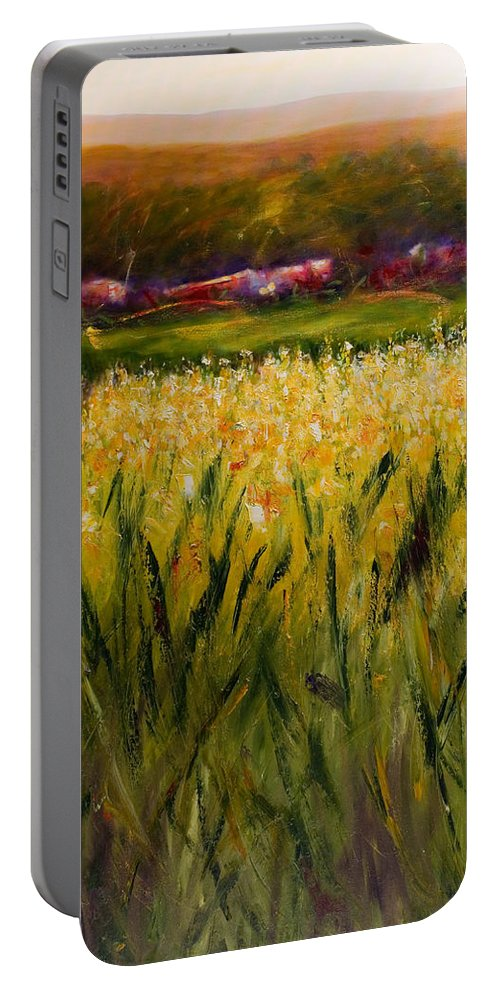Landscape Portable Battery Charger featuring the painting Beyond The Valley by Shannon Grissom
