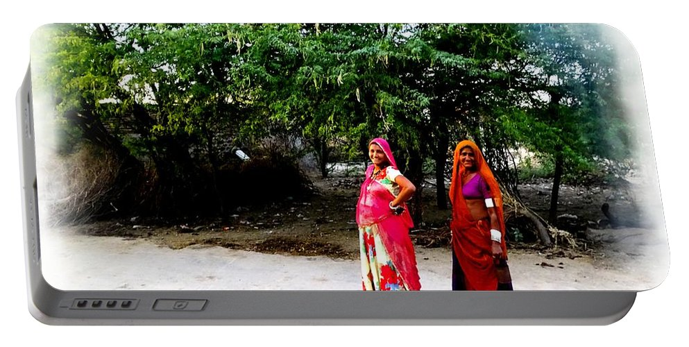 Bff Portable Battery Charger featuring the photograph Bff Best Friends Pregnant Women Portrait Village Indian Rajasthani 1 by Sue Jacobi