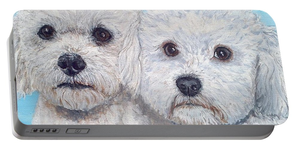 Dogs Portable Battery Charger featuring the painting Bichon Frisee by Monika Brauer