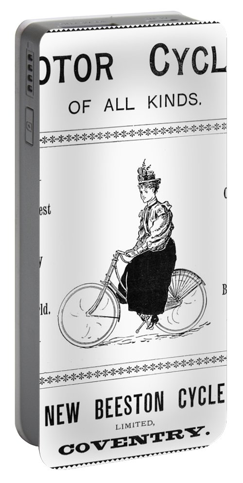 1897 Portable Battery Charger featuring the photograph Bicycle, 1897 by Granger