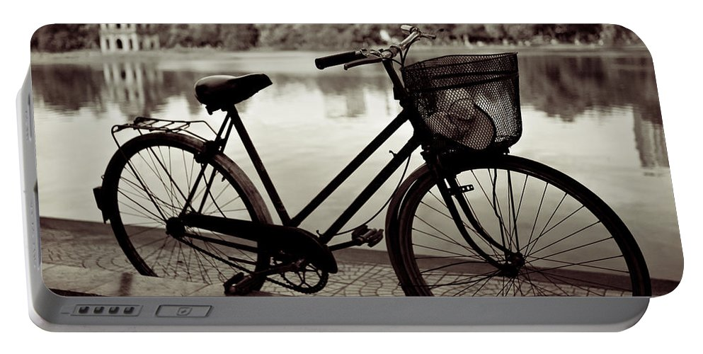 Bicycle Portable Battery Charger featuring the photograph Bicycle By The Lake by Dave Bowman