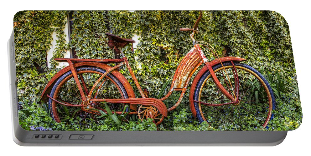 Appalachia Portable Battery Charger featuring the photograph Bicycle In The Garden by Debra and Dave Vanderlaan