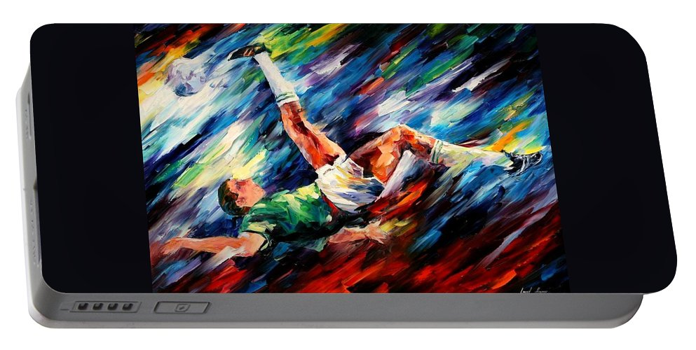 Afremov Portable Battery Charger featuring the painting Bicycle Kick by Leonid Afremov