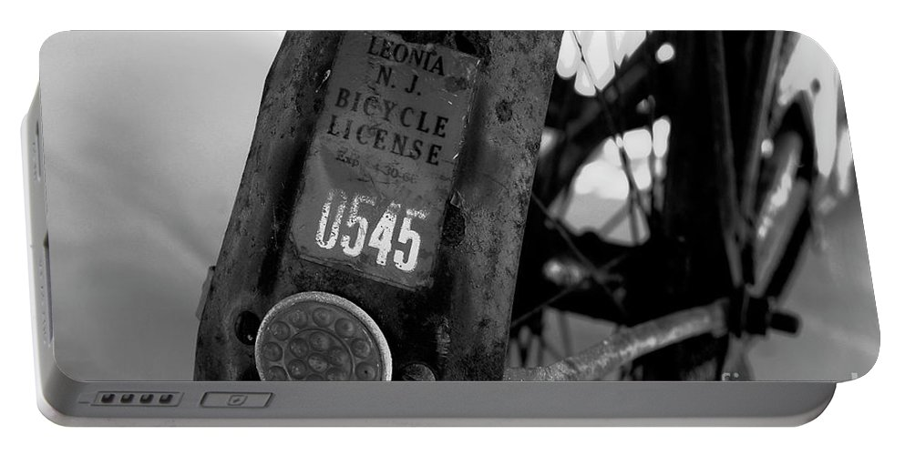 Fine Art Photography Portable Battery Charger featuring the photograph Bicycle License by David Lee Thompson