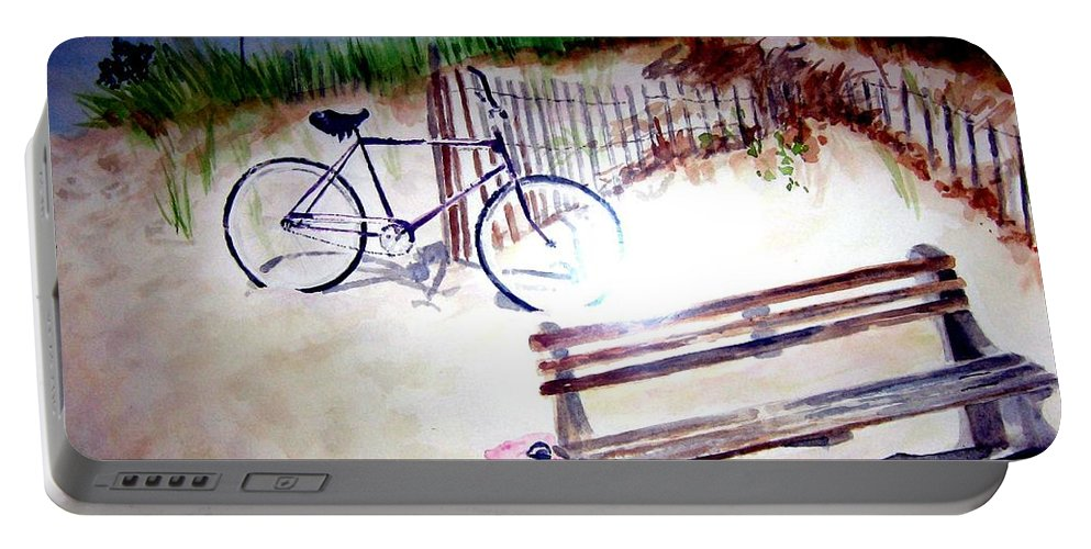 Bicycle Portable Battery Charger featuring the painting Bicycle On The Beach by Sandy Ryan