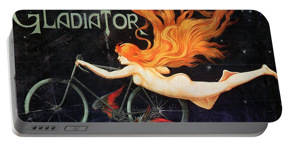 1905 Portable Battery Charger featuring the photograph Bicycle Poster, C1905 by Granger