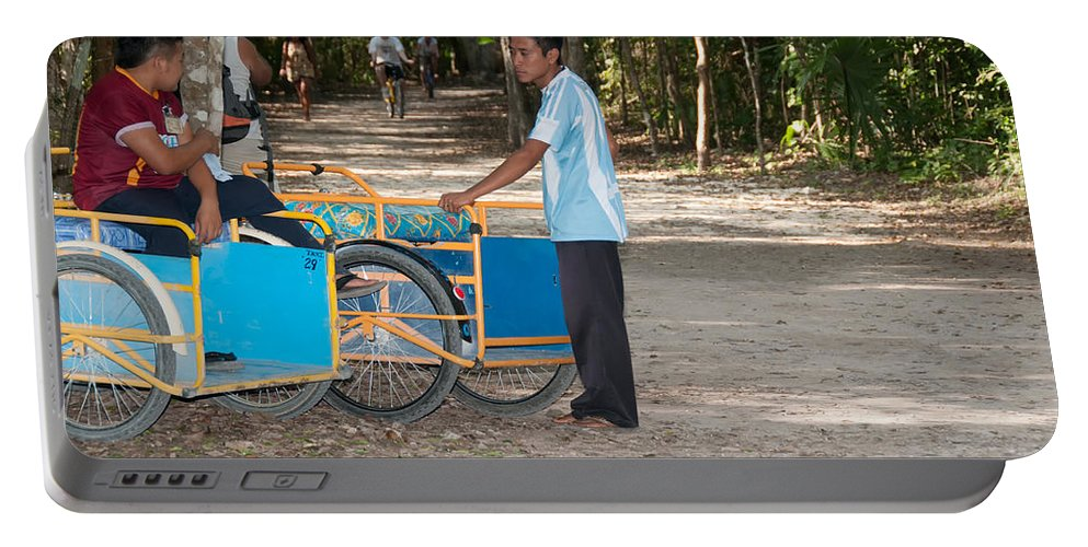 Mexico Quintana Roo Portable Battery Charger featuring the digital art Bicycle Taxi Inside The Coba Ruins by Carol Ailles