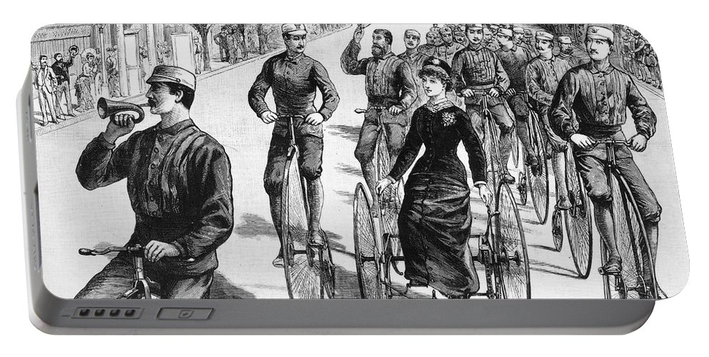 1884 Portable Battery Charger featuring the photograph Bicyclist Meeting, 1884 by Granger