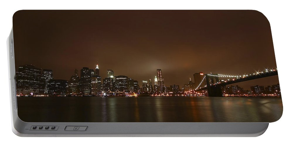 Bridge Portable Battery Charger featuring the photograph Big Apple Lights by Evelina Kremsdorf