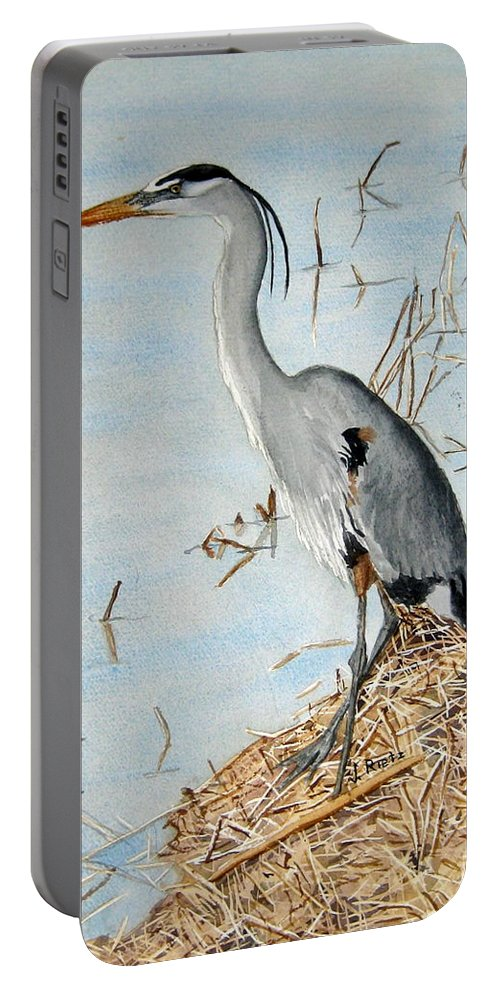 Water Portable Battery Charger featuring the painting Big Blue by Julia RIETZ