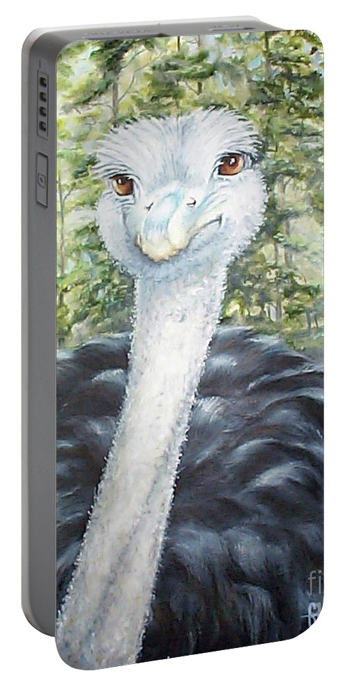 Fuqua Gallery-bev-artwork Portable Battery Charger featuring the painting Big Brown Eyes by Beverly Fuqua