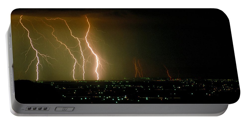 Storm Portable Battery Charger featuring the photograph Big Lightning by Jerry McElroy