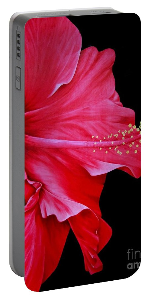 Red Flowers Portable Battery Charger featuring the painting Big Red by Mary Deal
