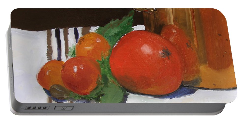 Still Life Portable Battery Charger featuring the painting Big Red Tomato by Barbara Andolsek