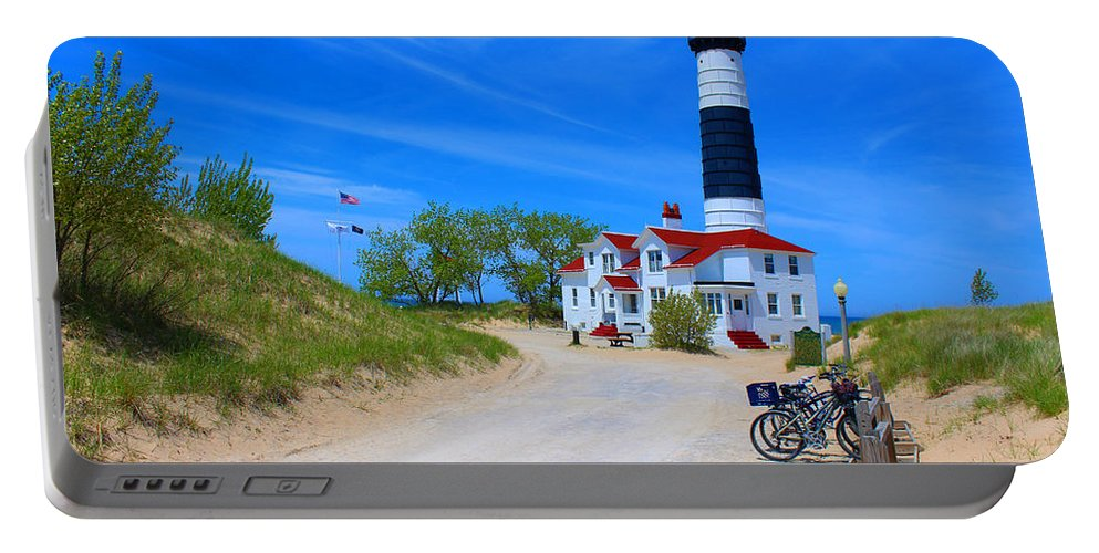 Lighthouse Portable Battery Charger featuring the photograph Big Sable Point Lighthouse by Michael Rucker