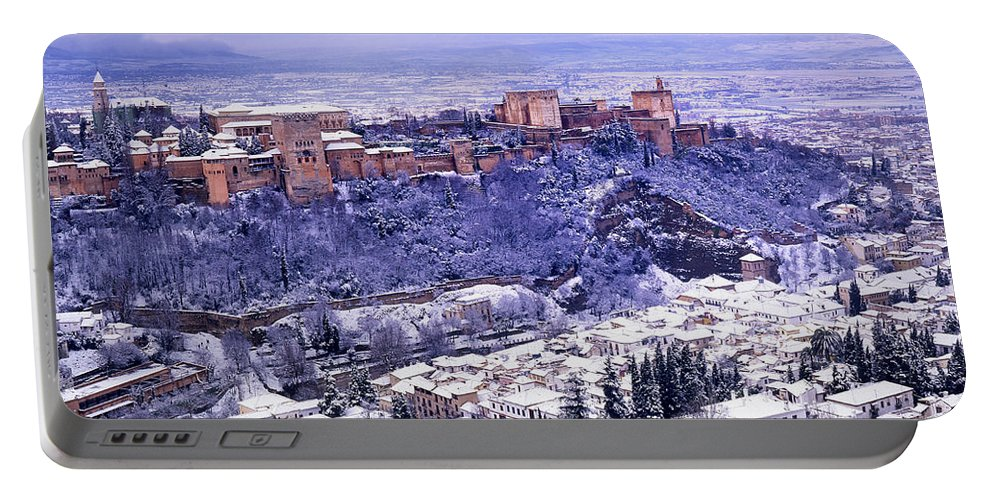 Winter Portable Battery Charger featuring the photograph Big Snow In The Alhambra Granada by Guido Montanes Castillo