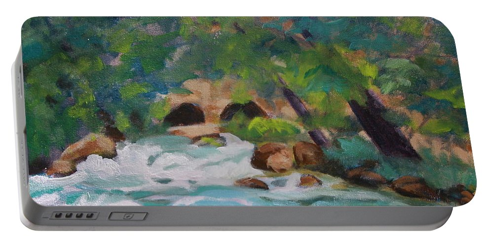 Impressionistic Portable Battery Charger featuring the painting Big Spring On The Current River by Jan Bennicoff