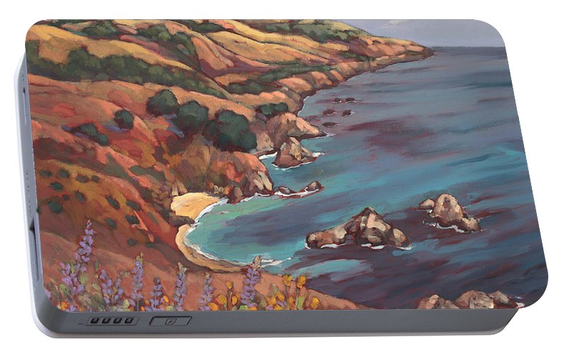 Ocean Portable Battery Charger featuring the painting Big Sur Coast by Peggy Olsen