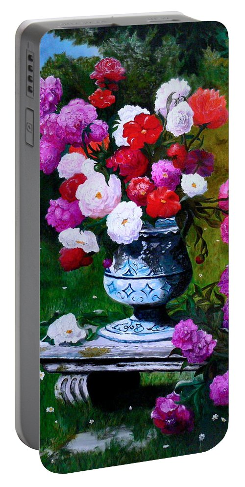Stilllife Portable Battery Charger featuring the painting Big Vase With Peonies by Helmut Rottler