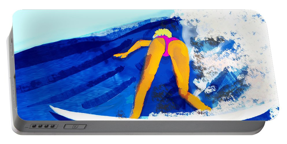 Surf Portable Battery Charger featuring the painting Big Wave by Lawrence O'Toole