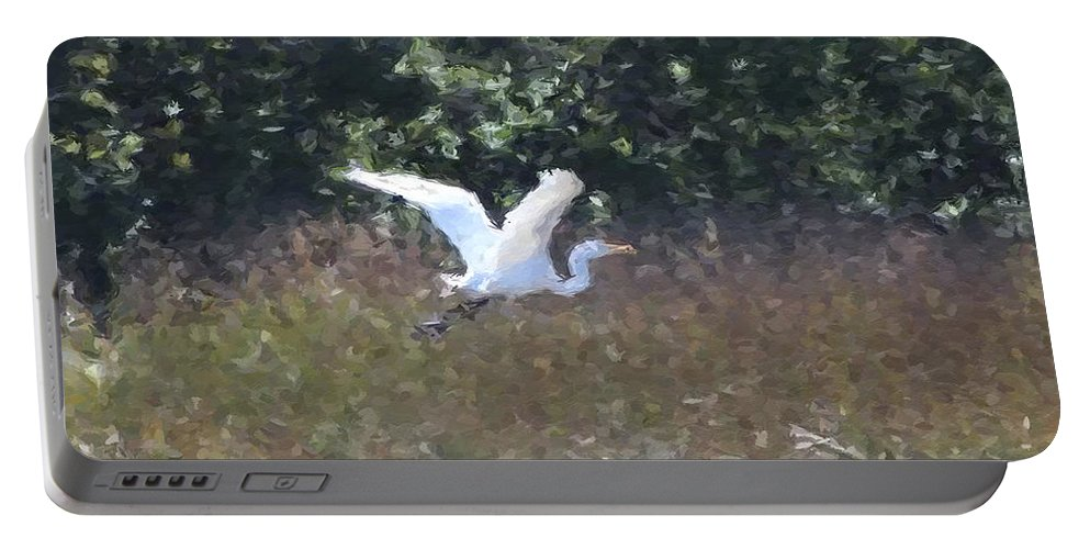Heron Portable Battery Charger featuring the photograph Big White Bird Flying Away by Modern Art