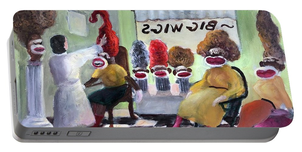 Sock Monkeys Portable Battery Charger featuring the painting Big Wigs And False Teeth by Randy Burns