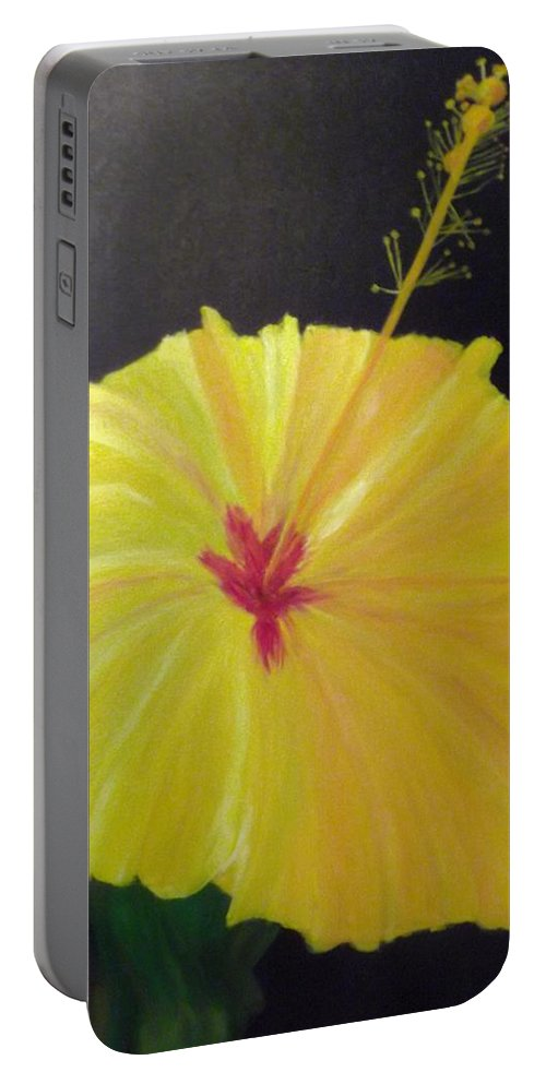 Yellow Hibiscus Portable Battery Charger featuring the painting Big Yellow Hibiscus by Sally Jones
