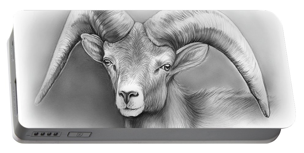 Bighorn Portable Battery Charger featuring the drawing Bighorn Ram by Greg Joens