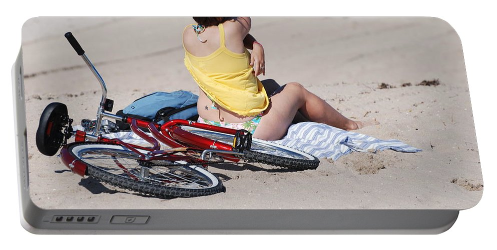 Red Portable Battery Charger featuring the photograph Bike On The Beach by Rob Hans